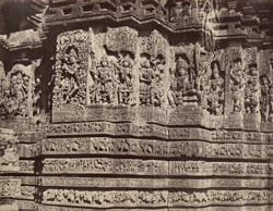 Hullabeed. The Great Temple. Portion of South-west front of antechamber of southern vimana, enlarged. [Hoysaleshwara Temple, Halebid.]